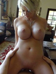 Blonde wife with amazing boobs riding..