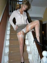 Mature women in stockings in various..