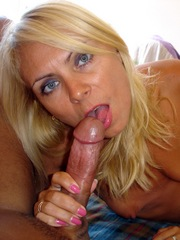 Blue-eyed blonde sucks big penis,..