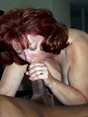 Curly redhead grandma sucked black cock